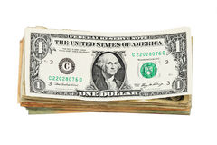 Isolated US dollar bill stack Stock Photos