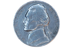 Isolated US Nickel Front Royalty Free Stock Images