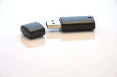 Isolated usb memory stick. Black usb flash disk, open and ready for use Stock Images