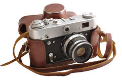 Isolated used film photo-camera in leather case Royalty Free Stock Photography