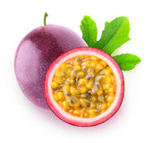 Isolated сut passion fruit. Isolated passionfruits. One whole passion fruit maracuya and a slice isolated on white background with clipping path royalty free stock photography