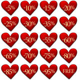 Isolated Valentine discount badges. Heart shaped discount badges isolated on white - Valentine's Day sale Stock Image