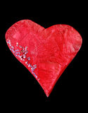 Isolated valentine red heart on white, a child art Royalty Free Stock Images