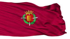 Isolated Valladolid city flag, Spain. Valladolid flag, city of Spain, realistic animation isolated on white seamless loop - 10 seconds long alpha channel is stock video