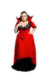 Isolated vampire in red top-collar dress Stock Photos