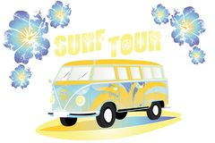 Isolated van on surfboard for print over different media. Isolated van on surfboard with hibiscus flowers and word surf tour - for print over different media royalty free illustration