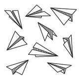 Isolated various paper planes black outline flying concept stock illustration