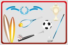 Isolated various sport equipments in retro design. Surfboards, football, golf, baseball and tennis Royalty Free Stock Photo
