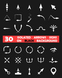 Isolated vector arrows signs on black background Royalty Free Stock Photo