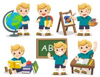 Back to school. A cute student study in school , drawing a pictu. Isolated vector. Back to school. A cute student study in school , drawing a picture, reading Royalty Free Stock Photos