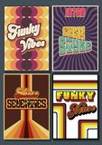 Set of Grunge Backgrounds from the 1970s. Isolated Vector Backgrounds from the Seventies, Funk Style, Vibes and Disco stock illustration
