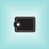 Isolated vector black wallet logo at aquamarine background. Stock Photography