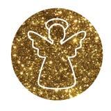 Vector golden glitter Christmas angel flat icon Stock Photos
