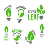 Isolated vector green light bulb spring leaf icion. Spring Time vector isolated icons set of green leaf and plants sprouts or growing tendrils in shape of Stock Image
