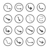 Isolated vector hand drawn arrows set on a white background. Curve arrow icons. Vector royalty free illustration
