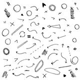 Isolated vector hand drawn arrows set Royalty Free Stock Photography