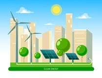 Isolated vector illustration of clean electric energy from renewable sources sun and wind. Power plant station buildings with so. Lar panels and wind turbines on vector illustration