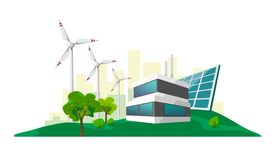 Isolated vector illustration of clean electric energy from renewable sources sun and wind on white. Power plant station buildings. With solar panels and wind stock illustration