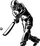 Cricket Low Bat Swing. Isolated vector illustration of cricket athlete hitting the ball stock illustration