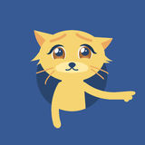Isolated vector illustration of the cute cat with sad eyes. Flat style icon. The cat shows its paw to the right. Compassionate glance. Image is out of circle Royalty Free Stock Image