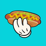Isolated vector illustration with delicious hotdog with sauce and salat and holding hand. Stock Images