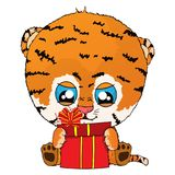 Isolated vector illustration a funny cartoon tiger cub with gift. Vector illustration Royalty Free Stock Photo