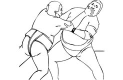 Isolated Vector Illustration of Japanese Male Sumo Wrestlers Stock Photos