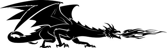 Dragon Guard Silhouette. Isolated vector illustration silhouette of fantasy black dragon Royalty Free Stock Photography