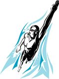 Swimmer Front Crawl. Isolated vector illustration of underwater sport swimming in full length stock illustration