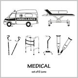 Set of vector icons on the theme medicine. Injuries, fractures, ambulance. stock illustration