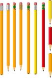 Isolated Vector Pencil Collection. A series of pencils isolated on white, some sharpened and some unsharpened Stock Photography