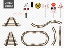 Vector rails set. Railways on white background. Railroad tracks. Royalty Free Stock Image