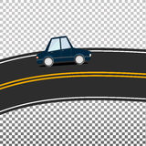 Isolated vector route and car. The route with yellow markings. Road. Double solid. Dark blue Car. Isolated. Vector illustration Stock Images