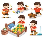 The daily routine of A cute boy on a white background. vector illustration