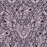 Isolated vector seamless background with beautiful wings and feathers of a bird or an angel. Repeating texture. Fabric design, background, wallpaper. Boho Stock Photos
