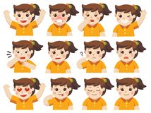 Set of Adorable Girl facial emotions. Isolated vector Set of Adorable Girl facial emotions. Girl face with different expressions. Schoolgirl portrait avatars royalty free illustration