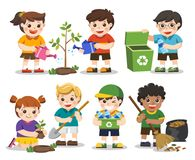Set of Cute kids volunteers . Save Earth. Isolated vector. Set of Cute kids volunteers. Save Earth. Waste recycling. Kids planted and watering young trees. they Stock Photos