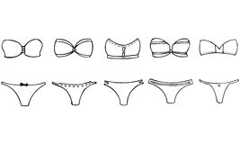 Isolated Vector Set of 5 Women's Strapless Summer Bikinis Stock Photography