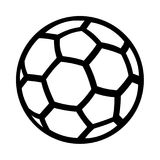 Isolated vector silhouette of a handball socker football ball sp. An isolated silhouette, representation of a handball ball with stripes. Black figure on a white vector illustration