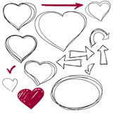 Isolated vector sketch hearts set. Hand drawn Stock Photography