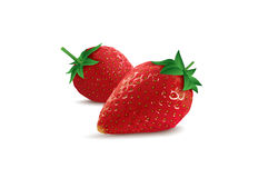Isolated vector strawberries. On the white background Royalty Free Stock Photography