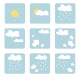 Isolated vector weather icons, clip art. Vector weather icons illustrations - clip art isolated on white background with sun, clouds, snow, rain and wind Royalty Free Stock Images