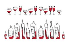 Isolated vector wine bottles and glasses Stock Photography
