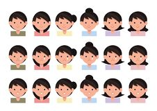 Beautiful young girls portrait with different hair style. royalty free illustration