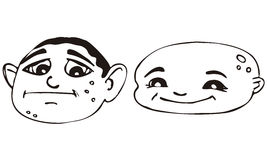 Isolated Vectors of 2 Cartoon Male Faces Royalty Free Stock Photo