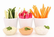 Isolated vegetable and dip Royalty Free Stock Photography