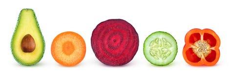 Isolated vegetable halves Stock Photos