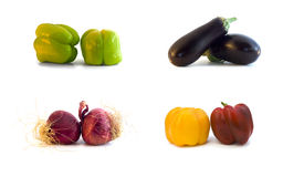 Isolated.Vegetables: aubergine, paprika, ui. Royalty-vrije Stock Afbeelding