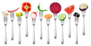 Isolated cut vegetables on a fork Stock Photography