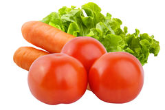 Isolated vegetables. Tomatoes, carrots and salad isolated on white background. Vegetables isolated on white background as package design element. Healthy eating royalty free stock images